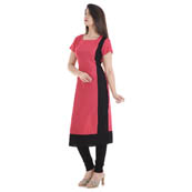 Pink and Black Cap Sleeve A Line Rayon Kurti-3007