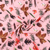 Pink and Black Flower Silk Crepe Fabric-18138