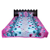 Pink and Blue Flower Printed Cotton Double Bed Sheet-0G65