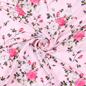 Pink and Brown Flower Silk Crepe Fabric-18140
