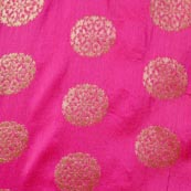 Pink and Golden Circular Pattern Brocade Fabric-4272