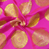 Pink and Golden Circular Shape Brocade Silk Fabric-8024