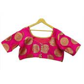 Pink and Golden Circular Silk Brocade Blouse-30123