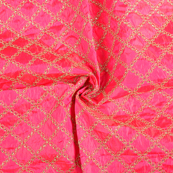 Pink and Golden Embroidery Paper Silk Fabric-60489
