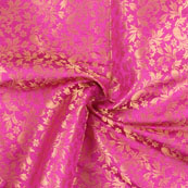 Pink and Golden Floral Brocade Silk Fabric-8919