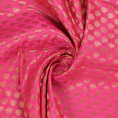 Pink and Golden Floral Brocade Silk Fabric-8939