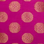 Pink and Golden Floral Circular Pattern Brocade Silk Fabric By the Yard
