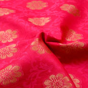 Pink and Golden Floral Design Brocade Silk Fabric-5376