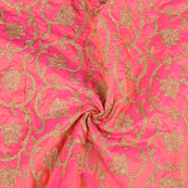 Pink and Golden Floral Design Paper Silk Embroidery Fabric-60610