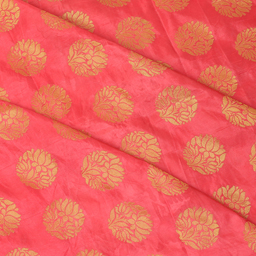 Pink and Golden Floral Pattern Brocade silk Fabric-8329