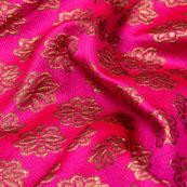 Pink and Golden Floral Pattren Brocade Silk Fabric-5341