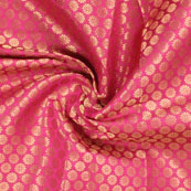 Pink and Golden Flower Brocade Silk Fabric-8920