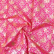 Pink and Golden Flower Design Brocade Silk Fabric-8327