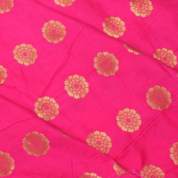 Pink and Golden Flower Design Silk Brocade Fabric-8340