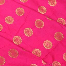 Pink and Golden Flower Design Silk Brocade Fabric-8340