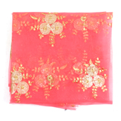 Pink and Golden Flower Embroidery Net Fabric-60889