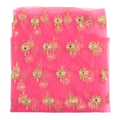 Pink and Golden Flower Embroidery Net Fabric-60896