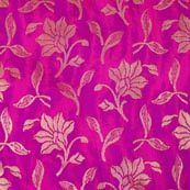 Pink and Golden Flower Pattern Brocade Indian Fabric-4286