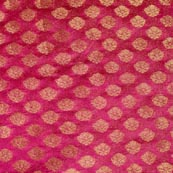Pink and Golden Flower Pattern Brocade Indian Fabric-4302