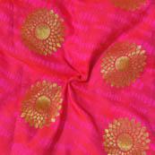 Pink and Golden Flower Pattern Brocade Silk Fabric-8014
