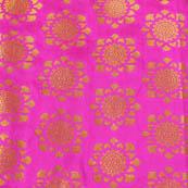 Pink and Golden Flower Pattern Brocade Silk Fabric-8027