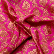 Pink and Golden Flower Shape Brocade Silk Fabric-5353