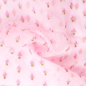 Pink and Golden Leaf Design Embroidery Organza Fabric-50065