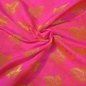 Pink and Golden Leaf Pattern Brocade Silk Fabric-8053