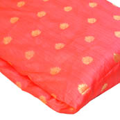 Pink and Golden Leaf Pattern Brocade Silk Fabric-8144