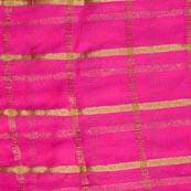 Pink and Golden Lining Pattern Chiffon Indian Fabric-4359