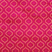 Pink and Golden Multi Lining Pattern Brocade Silk Fabric by the yard