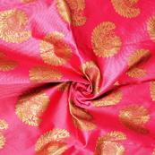 Pink and Golden Paisley Design Two Tone Banarasi Silk Fabric-8441