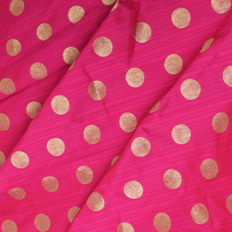 Pink and Golden Polka Design Brocade Silk Fabric-8356