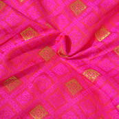 Pink and Golden Square Design Brocade Silk Fabric-8017