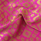 Pink and Golden Square Design Brocade Silk Fabric-8036