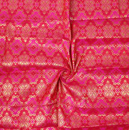 Pink and Golden Square Design Brocade Silk Fabric-8339