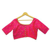 Pink and Golden Square Silk Brocade Blouse-30129