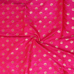 Pink and Golden Star Pattern Brocade silk Fabric-8358