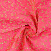 Pink and Golden Unique Design Paper Silk Embroidery Fabric-60606