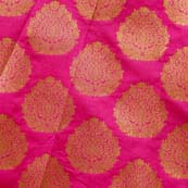 Pink and Golden Zari Circular Pattern Brocade Silk Fabric by the yard