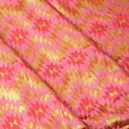 Pink and Golden Zig Zag Design Brocade Silk Fabric-8346