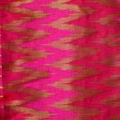 Pink and Golden Zig Zag Pattern Chanderi Fabric-4389