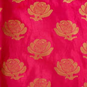 Pink and Golden flower brocade fabric-4635