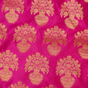 Pink and Golden flower pot brocade silk fabric-4628