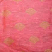 Pink and Golden flower shape brocade silk fabric-5049