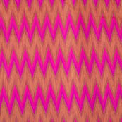 Pink and Golden ikat printed chanderi fabric-4600