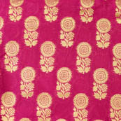 Pink and Golden large flower brocade silk fabric-4630