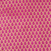 Pink and Golden leaf pattern brocade silk fabric-4594