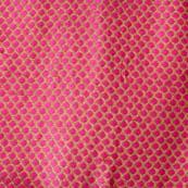 Pink and Golden polka pattern brocade silk fabric-4608