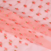 Pink and Golen Embroidery Net Fabric-60787